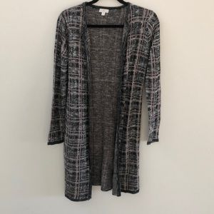 EUC Charming Charlie black plaid duster Cardigan